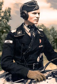 Waffen SS tank commander maybe in Russia. Compare his smart looking uniform to the ones that the opposition wore. Also, many Allied tankers today cannot understand why so many of their buddies died senselessly stuck in crappy Shermans. Kind of like having a Rottweiler fight a Poodle!