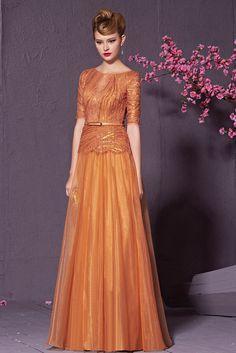 Burnt Orange Half Sleeved Embellished Dress