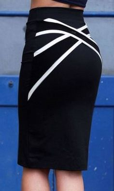 Chic and Curvy! Love this Skirt Design! Stylish Black and White Criss-Cross Stretch Bodycon Skirt Fashion #Sexy #Curvy #Comfy #Stretch #BodyCon #Skirt #Design #Black_and_White  #Fashion #Outfit #Ideas