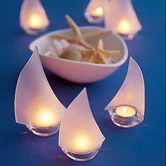 Sea glass sailboats for a beach themed wedding