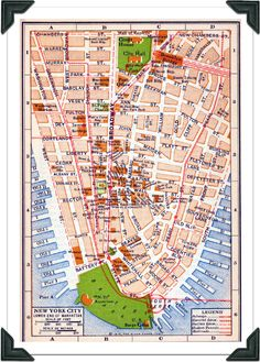 Vintage New York Map.