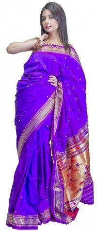 Purple Paithani Sari with Zari Thread Woven Peacocks on Anchal