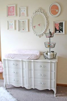 dresser/Change table save space! love the vintage chabby chic feel of this