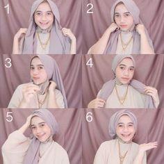 Tutorial Hijab Pesta Hijab Casual, Simple Hijab, Hijab Chic, Tutorial Hijab Wisuda, Hijab Style Tutorial, Turban Hijab, Hijab Mode Inspiration, Hairstyle Tutorial, Diy Dress
