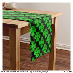 Shop Clover Leaf Illustration Short Table Runner created by Zarya_Kiqo. Cheap Table Runners, Table Runner And Placemats, Green Pattern, Paisley Pattern, Pattern Print, Black Tablecloth, Holiday Boutique, Dinning Room Tables, Leaf Illustration