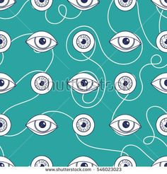 Communication and eyes. Seamless pattern light. Concept creativity illustration internet network for young people, Social media. Vector. Green background.