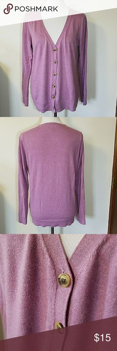 Gap Button-up V Neck Cardigan Gap button-up v neck cardigan with long sleeves. Minor wearing under arms as shown in last pic. Overall good condition. Color is a heather purple/pink. GAP Sweaters
