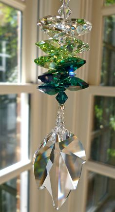 """Swarovski Crystal Suncatcher - Swarovski Crystal 45mm(1.77"""")  Clear Leaf with Octagons in Medly of Clear and Green Tones - """"IVY"""" 10.5"""" Long"""