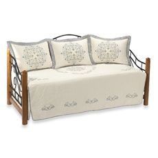 Style-savvy decorators know that cool blues are a hot trend. This daybed cover set features medallion embroidery for a traditional feel with a nod to modern design using icy shades of blue. Daybed Bedding, Bedding Sets, Daybed Cover Sets, Blue Shabby Chic, Guest Bedrooms, Guest Room, Bed & Bath, Beautiful Bedrooms, Bed Spreads