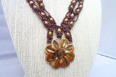 Hemp Necklace Flower Pendant Brass Copper Beads by HempGalore, $39.99