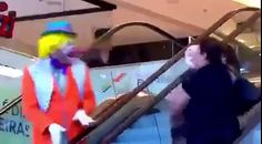 Clown Throws Pie at Women On Escalator Not funny at all till it happens to your own mother or loved one.