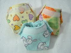 Baby Doll Diapers  Set of 3 Small by JustDollClothes on Etsy. , via Etsy.