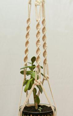 "Cotton Macrame Plant Hanger ~ Living Planter ~ Ceiling Hanging Basket 40"" ~ Strong Hanging Planter ~ Wall Flower Pot Hanging ~ Rope Planter"