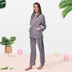 RAIKOU Damen Micro Velours Freizeitanzug Hausanzug mit Reißverschluss Nicki-Anzug Zweiteiliger Schlafanzug Pajamas, Suits, Style, Fashion, Fashion Styles, Velvet, Long Pants, Pajama Set, Long Sleeve