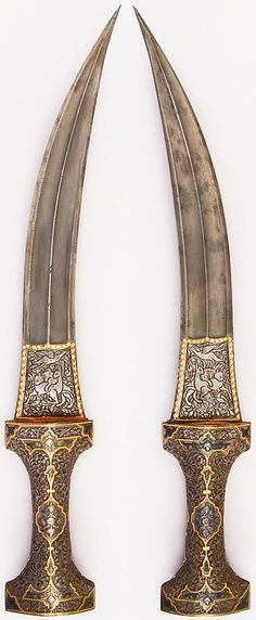 Persian jambiya, 19th century, steel, H. 15 3/8 in. (39.1 cm); H. of blade 10 1/2 in. (26.7 cm); W. 5/16 in. (0.8 cm); D. 1 3/16 in. (3 cm); Wt. 11.4 oz. (323.2 g), Met Museum.