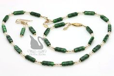 Green Czech Freshwater Pearl Beaded Necklace Set 3pc (JS102) by Crystal Allure Beaded Jewelry