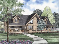 Aspen Pine Rustic Log Home Plan 073D-0038 | House Plans and More