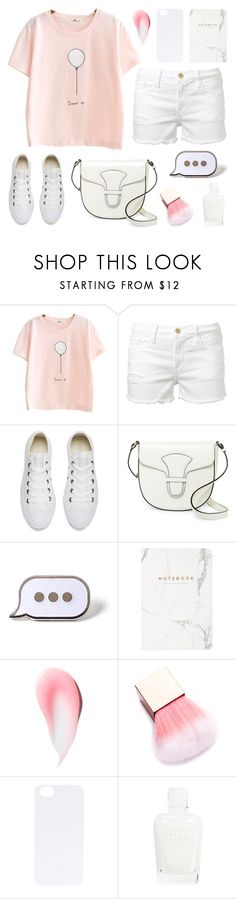 """White denim"" by deepwinter ❤ liked on Polyvore featuring Frame, Converse, Via Spiga, PINTRILL and C6"