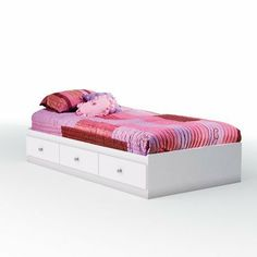 "South Shore Furniture, Crystal Collection, Twin Mates Bed 39"", Pure White by South Shore Furniture. $189.24. Twin-size bed made of engineered wood with a pure white finish. Timeless design appropriate for girls and boys of all ages. Measures 76-2/7 by 40-1/5 by 13-4/5 inches; 5-year warranty; Mattress and accessories not included. 3 under-bed storage drawers with clear crystal pull knobs. Fits standard twin-size mattress; some assembly required. 3550080 South Sh..."