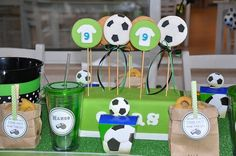 Sugar soccer cookies by Sweet Enough  Personalized labels:www.thepaperkingdom.etsy.com