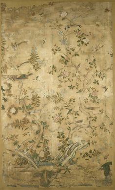Wallpaper, watercolour on paper from Eltham Lodge in Kent, China (Canton or Guangdong), 1750-52.. Our wall murals bring stunning imagery to life on a large scale.