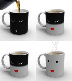 Morning Mug really understands those of us who need time to wake up in the mornings.    When cold, the mug displays a sleeping face white on black. As you pour in the hot coffee (or tea), the mug awak