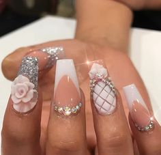The Most Popular Nail Shapes – Page 3109779403 – NaiLovely Fancy Nails, Bling Nails, Love Nails, Swag Nails, Fabulous Nails, Gorgeous Nails, Pretty Nails, Pineapple Nails, Stylish Nails