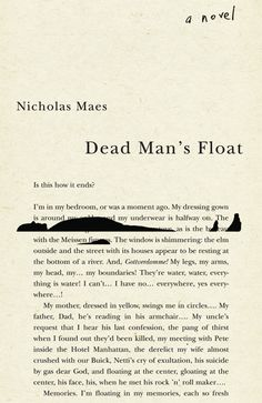 Dead Man's Float by Nicholas Maes; design by David Drummond (Vehicule Press)