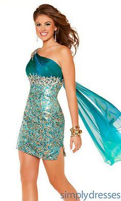 7981fc67114c0f Short One Shoulder Sequin Dress at SimplyDresses.com Designer Formal  Dresses