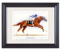 Horse Racing 429: Secretariat Thoroughbred Horse Racing Framed Art Wow - Gorgeous Signed Painting -> BUY IT NOW ONLY: $54 on eBay!