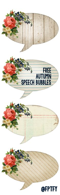 Free Autumn Shabby Speech Bubbles! - Free Pretty Things For You