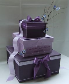 Wedding card box idea, without twigs or butterflies though.