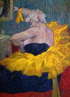 The Clowness Cha-U-Kao Fastening Her Bodice (1895). Henri de Toulouse-Lautrec (French, 1864-1901). Oil on cardboard. Musée d'Orsay.