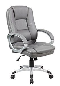 United Seating Executive High-back Grey PU & PVC Leather Office Chair with Thick Padded Back & Seat with Chrome Base, Grey Office Furniture Stores, Commercial Office Furniture, Kids Folding Chair, Chairs For Bedroom Teen, Adjustable Office Chair, Adirondack Chair Plans, Comfortable Office Chair, Toddler Table And Chairs, Patterned Armchair