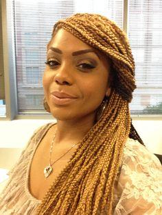Simple swoop bangs box braids style.