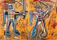 Offensive orange in 2 parts by Jean-Michel Basquiat