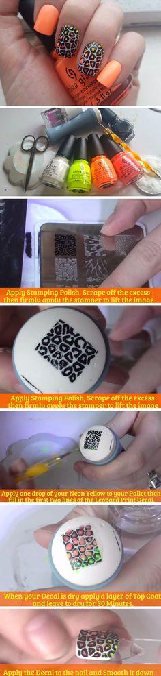 Neon Ombre Leopard Nail Art | Cute Summer Nail Art Ideas for Short Nails