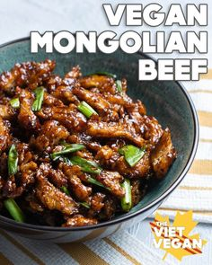 Vegan Mongolian Beef with Soy Curls – The Viet Vegan – Vegetarisch Vegan Beef, Vegan Foods, Vegan Vegetarian, Vegetarian Recipes, Healthy Recipes, Vegan Asparagus Recipes, Vegan Dinner Recipes, Whole Food Recipes, Cooking Recipes