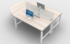 2 Person Benching/ Desking Unit with Glass Upmount screen & a D-Top on end to promote collaboration. http://joycecontract.com/product/125-2-person-desking-glass-screen/