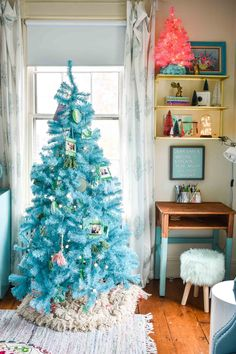 decorating a colorful kids space for christmas, complete with their own trees!  #christmasdecor #Christmastree #DIYChristmasDecor