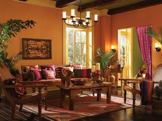 cool combo of colors, burnt orange and fuschia accents makes kind of a middle eastern, exotic feel