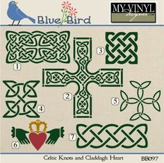 DIGITAL DOWNLOAD ... Irish and Celtic Knot vectors in AI, EPS, GSD, & SVG formats @ My Vinyl Designer #myvinyldesigner #bluebird