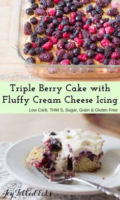 This Triple Berry Cake has a layer of berries hidden by a fluffy cream cheese frosting. The juice from the berries soaks into the cake under them keeping it moist and flavorful.  It is sugar free, grain free, low carb, and THM S.
