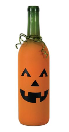 Creepy Crafts Countdown - Day 26. Pumpkin Glass Bottle. A project sheet with instructions on how to create this project can be found here: http://www.craftsdirect.com/default.aspx?PageID=311=1037