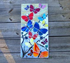 Jardin des papillons Original mosaïque Art mûr