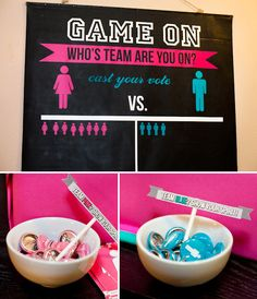 cute baby shower idea: Gender Reveal Party - How fun would this be? Great ideas for a really interactive party from guessing to baby naming! Except I would try really hard to keep it a secret from everyone until during the party!