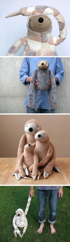 The Art Of Making Stuffed Toys - Bored Art Great idea for cute and clever stuffed toys! Softies, Plushies, Baby Toys, Kids Toys, Couture Bb, Sewing Toys, Sewing Art, Cute Toys, Sewing For Kids
