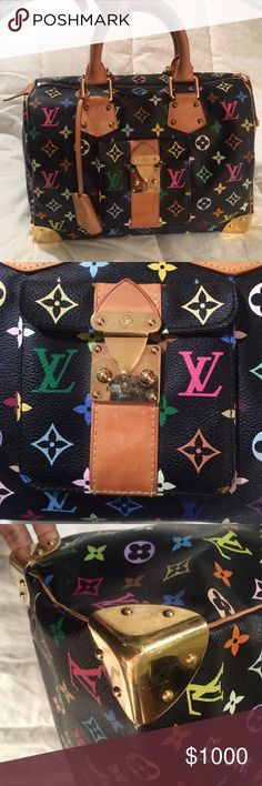 Louis Vuitton Bag Authentic multicolor monogram speedy. This bag is in good used condition. It has minor wear around the corners of the bag. My son wrote in pen on the bottom of one handle (see pic). The handles are worn and darker. The inside is clean with no spots. Comes with the keys and everything works! Some scuffing along the gold hardware. I can add more pics...just ask! This is a beautiful bag!🌻NO TRADES🚫❌⁉️ Louis Vuitton Bags Satchels