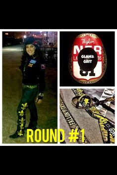 Round One NFR 2013 Fallon Taylor wearing her Glam&Grit hat! Which happens to be her very first back number! SOOOO cool!