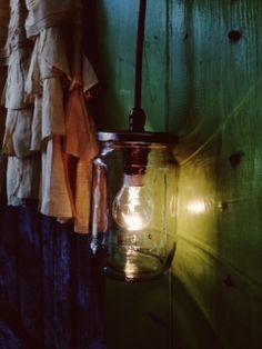 Jam Jar or Mason Jar Light.  Can be a pendant or a wall light, with a wide choice of flex colour.